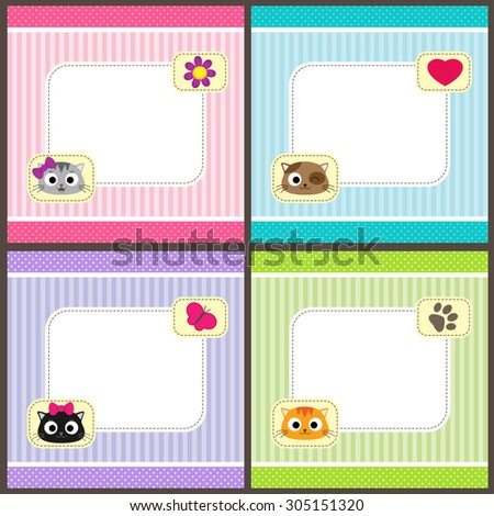 Set of vector cards with cartoon cats and place for your text.  Templates for baby shower, birth announcement or birthday invitation. - stock vector