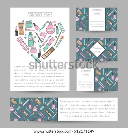 Set vector cards cosmetics ornament invitation stock vector royalty set of vector cards with cosmetics ornament invitation cards flyers business card colourmoves