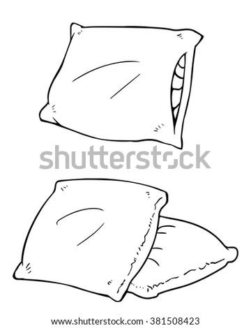 Set Of Vector Cartoon Bed Pillows