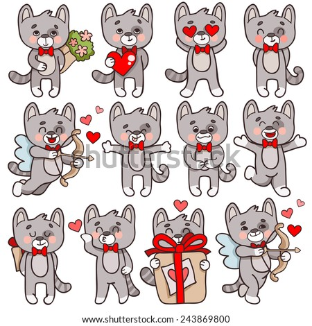 Set of vector cartoon characters cats in love theme. Cupid with a bow cat, a cat with a heart, a cat with a bouquet of flowers, a cat hugs. - stock vector