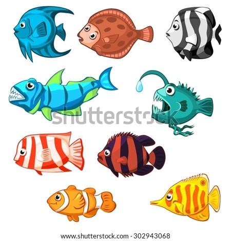Set of vector cartoon fishes - stock vector