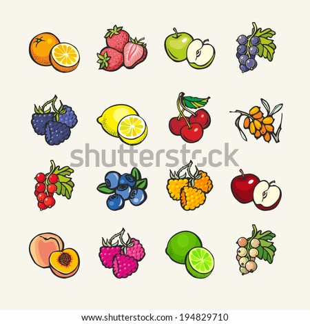Set of vector cartoon icons - fruits and berries - stock vector