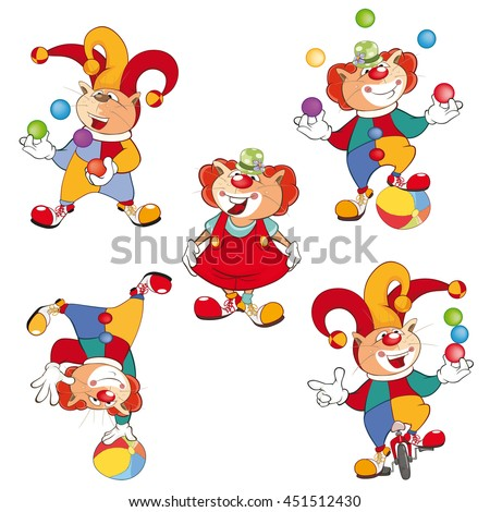 Set of Vector Cartoon Illustration. A Cute Cats Clowns for you Design - stock vector