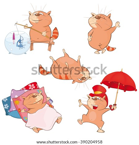 Set of Vector Cartoon Illustration. A Cute Cats for you Design. Cartoon Character - stock vector