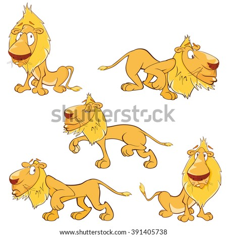 Set of Vector Cartoon Illustration. A Funny Yellow Lions for you Design