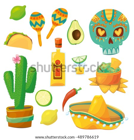 Set Vector Cartoonstyle Mexico Latin America Stock Vector 489786619