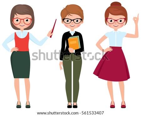 Set of vector cartoon teacher in different poses Stock Illustration