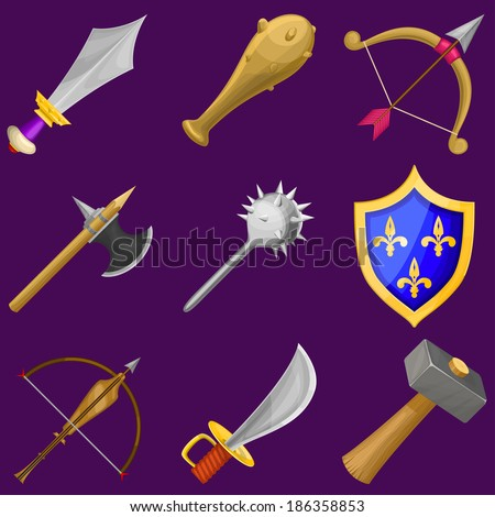 Set of vector cartoon weapon icons