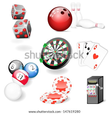 Set of vector casino and game elements - stock vector