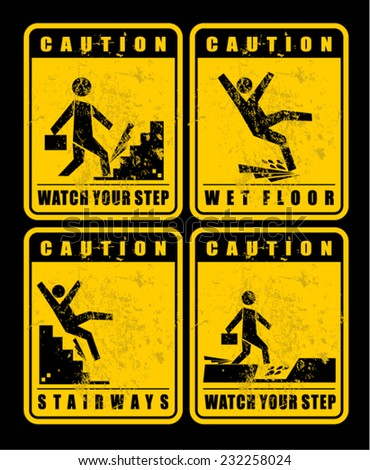 set of vector caution signs - stock vector