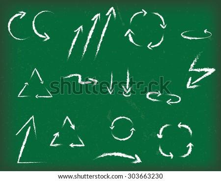 Set of vector chalk arrows - stock vector