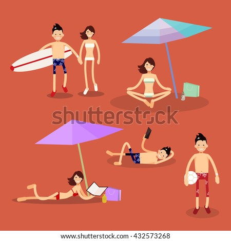 set of vector characters on the beach: Surfing, sunbathing, vacation, holidays, and volleyball