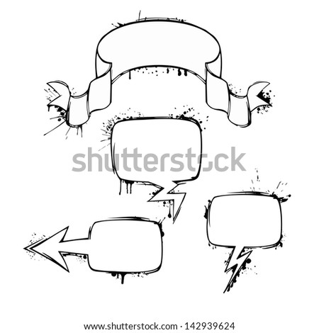 Set of vector chat ink grunge bubbles