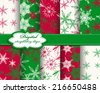 set of vector Christmas abstract snowflakes pattern paper for scrapbook  - stock