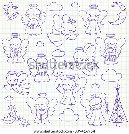 Set of vector Christmas angels and ornaments in doodle style (included xmas tree;  mistletoe; angels; bell;  pine; crescent, gift). Can be used for xmas or winter design - stock vector