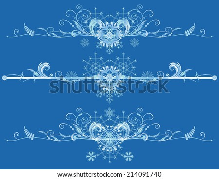 Set of vector Christmas borders with  snowflakes - stock vector