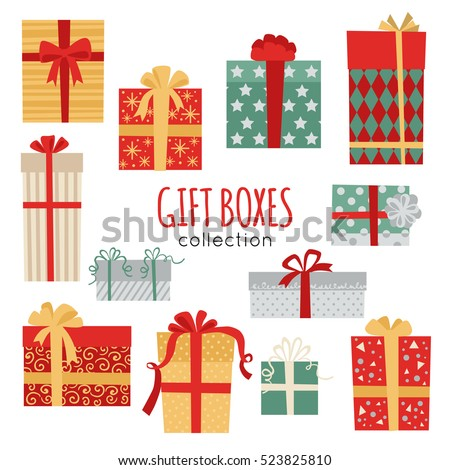 Set of vector Christmas gift box icon isolated on white background.