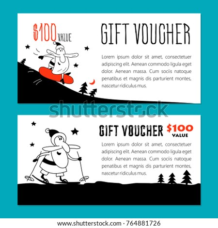 Set vector christmas gift vouchers funny stock vector hd royalty set of vector christmas gift vouchers funny santa claus on skis and snowboards yelopaper Images