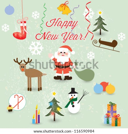 Set of vector Christmas icons,santa, balls, sweet, snowman, gift, deer - stock vector