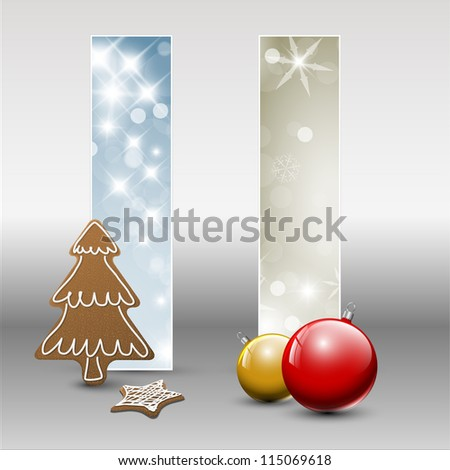 Set of vector christmas / New Year cards or banners with decorations - stock vector