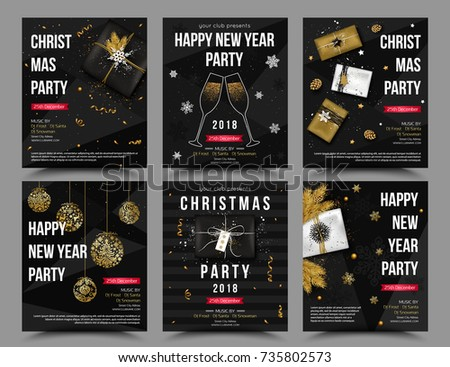 Set vector christmas new year party stock vector 2018 735802573 set of vector christmas new year party poster flyer invitation template stopboris Images