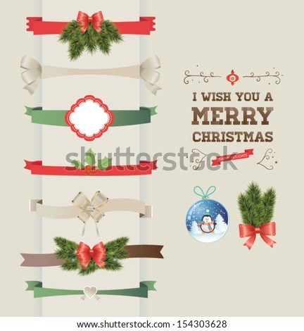 Set of vector Christmas ribbons and vintage New year labels. Christmas vector element. - stock vector