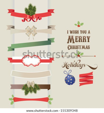 Set of vector Christmas ribbons and vintage New year labels. Christmas vector element.