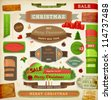 Set of vector Christmas ribbons, old dirty paper textures and vintage new year labels. Elements for Xmas design: stickers, ribbons, gifts, fur tree branches, balls, candles and curled papers. Eps 10. - stock vector