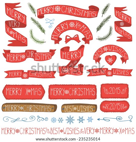 Set of vector Christmas ribbons,spruce branches,lettering,snowflakes,decor element, vintage new year labels. Elements for Xmas design.Doodles Christmas decorations set.  - stock vector