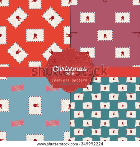 Set of vector christmas seamless patterns for xmas cards and gift wrapping paper.Vintage Christmas elements - stock vector