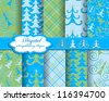 set of vector Christmas tree paper for scrapbook - stock vector