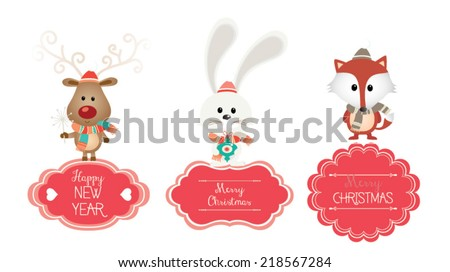 Set of vector Christmas vector vintage banner. Vintage fox, reindeer and bunny - stock vector