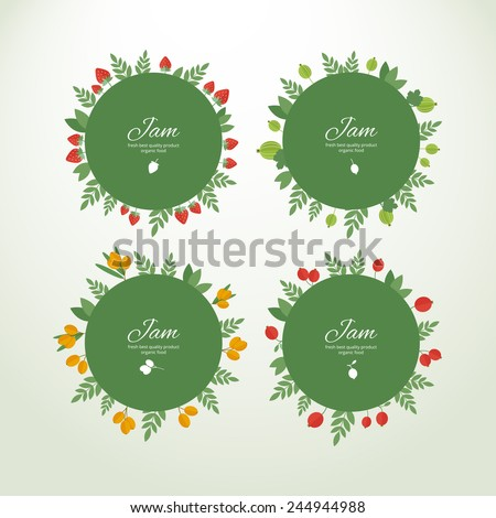 Set of vector circle labels with fresh berries. Concept organic product