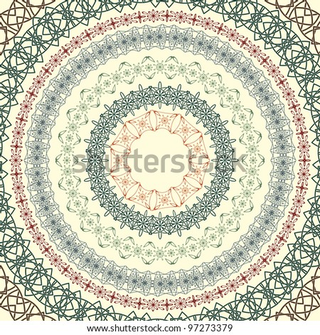 set  of vector circle vintage patterns, based on seamless borders, can be used separately, brushes included - stock vector