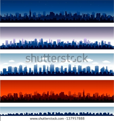 Set of vector cities silhouette time of day - stock vector