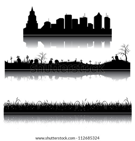Set of vector city, grass and graveyard silhouettes - stock vector