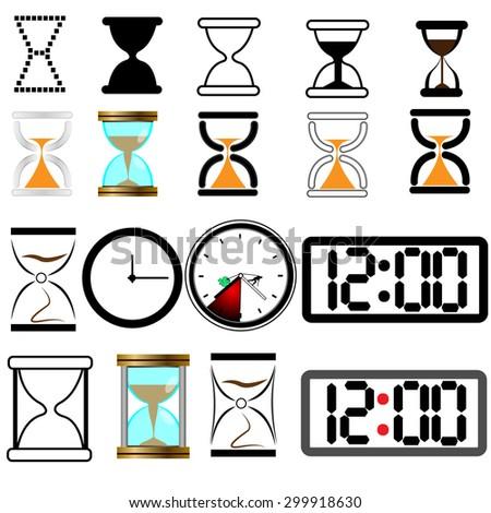 Set of vector clock , digital and hourglass - stock vector
