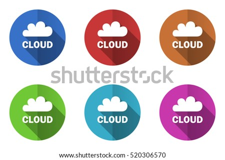 Set of vector cloud icons. Colorful round web buttons. Flat design pushbuttons.