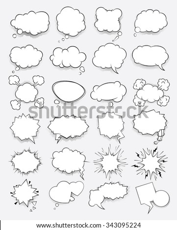 Set of vector clouds in the style of comics - stock vector