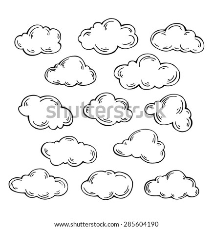 Set of vector clouds on white background - stock vector