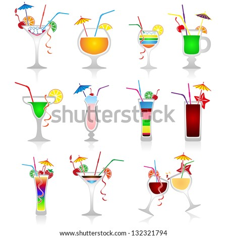 Set of vector cocktails on white background - stock vector