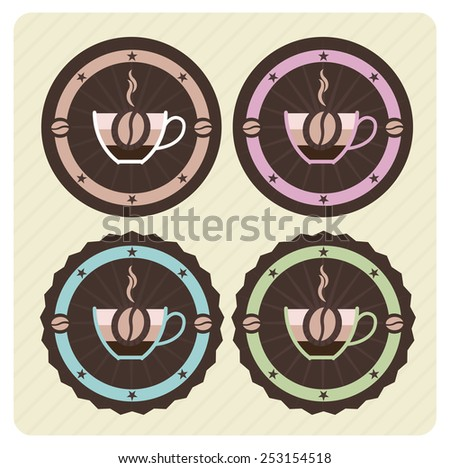 Set of vector coffee icons in vintage colors  - stock vector