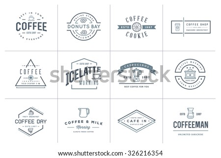 Set of Vector Coffee Logotype Templates and Coffee Accessories Illustration with Incorporated Icons with Fictitious Names - stock vector