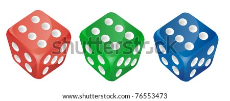 set of vector color dice