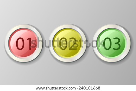 Set of vector colored buttons - stock vector