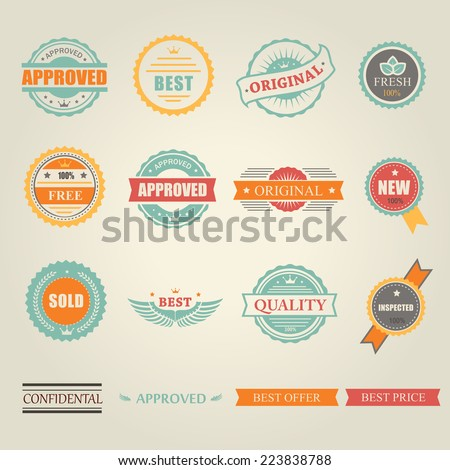 Set of vector colored emblems and stamps  depicting  approved  free  original  inspected fresh new sold and best offer price in round and rectangular banner form - stock vector