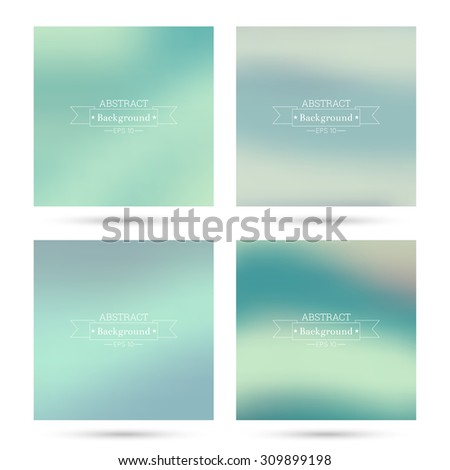Set of vector colorful abstract backgrounds blurred. For mobile app, book cover, booklet, background, poster, web sites, annual reports. green, cream, yellow, turquoise - stock vector