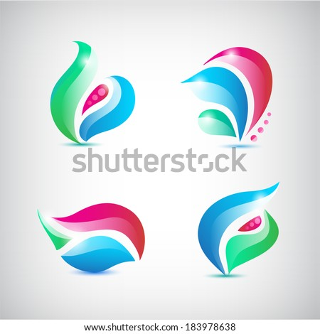 set of vector colorful abstract floral icons, logos - stock vector