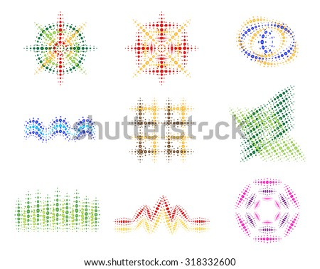 Set of vector colorful halftone pattern