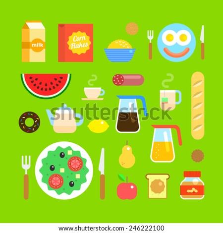 Set of vector colorful icons on the theme of the breakfast in flat style. Fresh delicious food, fruit, tea, coffee and juice. American breakfast. - stock vector